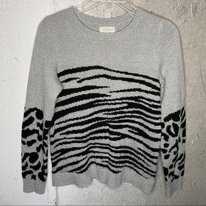 Lucky Brand Grey Animal Print Crewneck Sweater